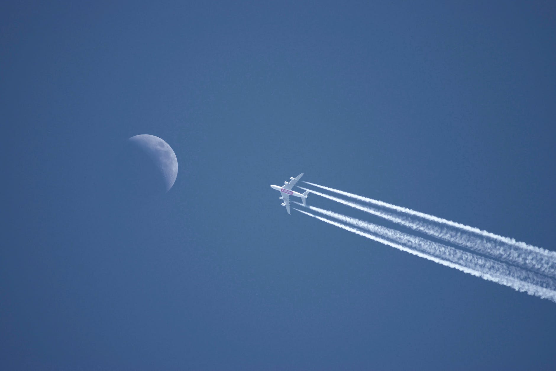 white plane on the sky
