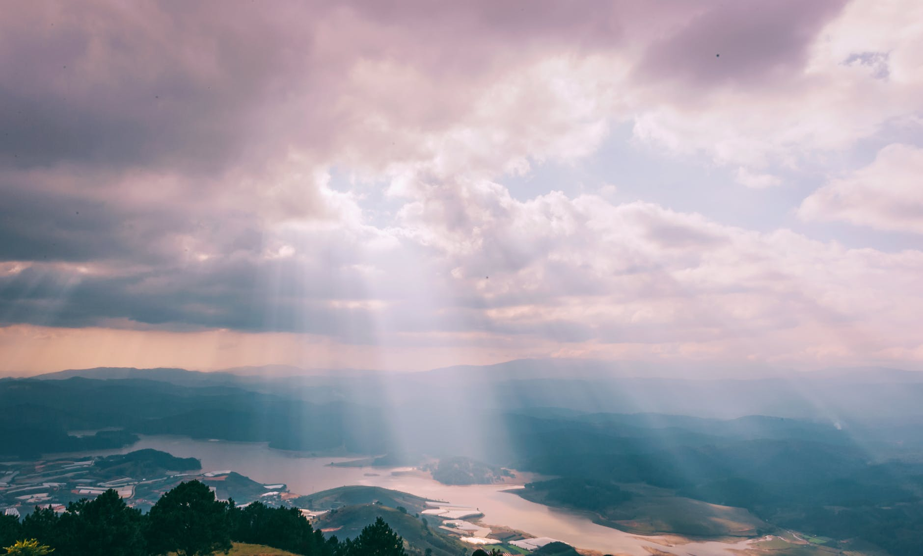 mountains with crepuscular ray