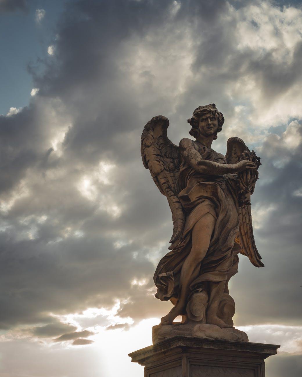 winged human statue