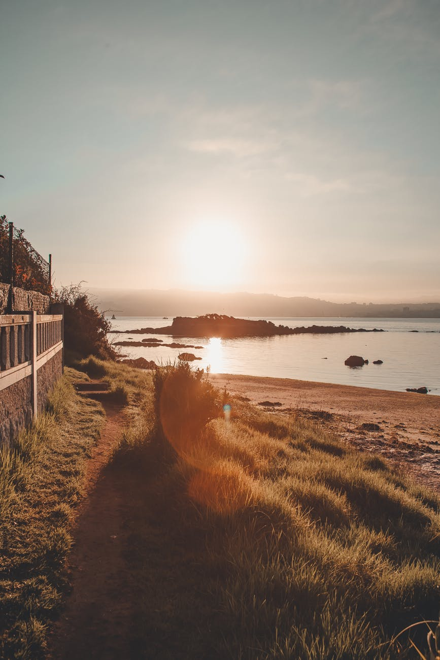 photo of seashore during golden hour