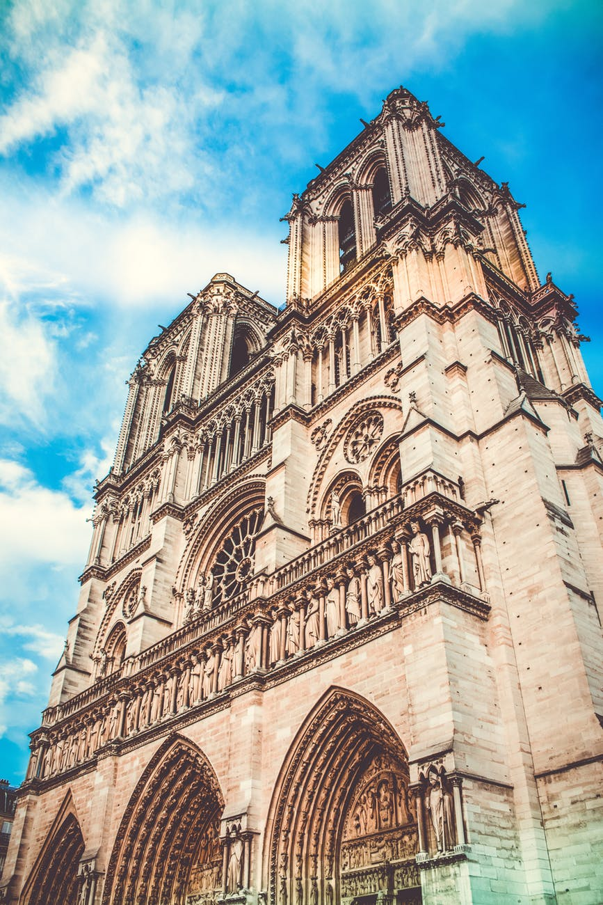low angle photography of notre dame