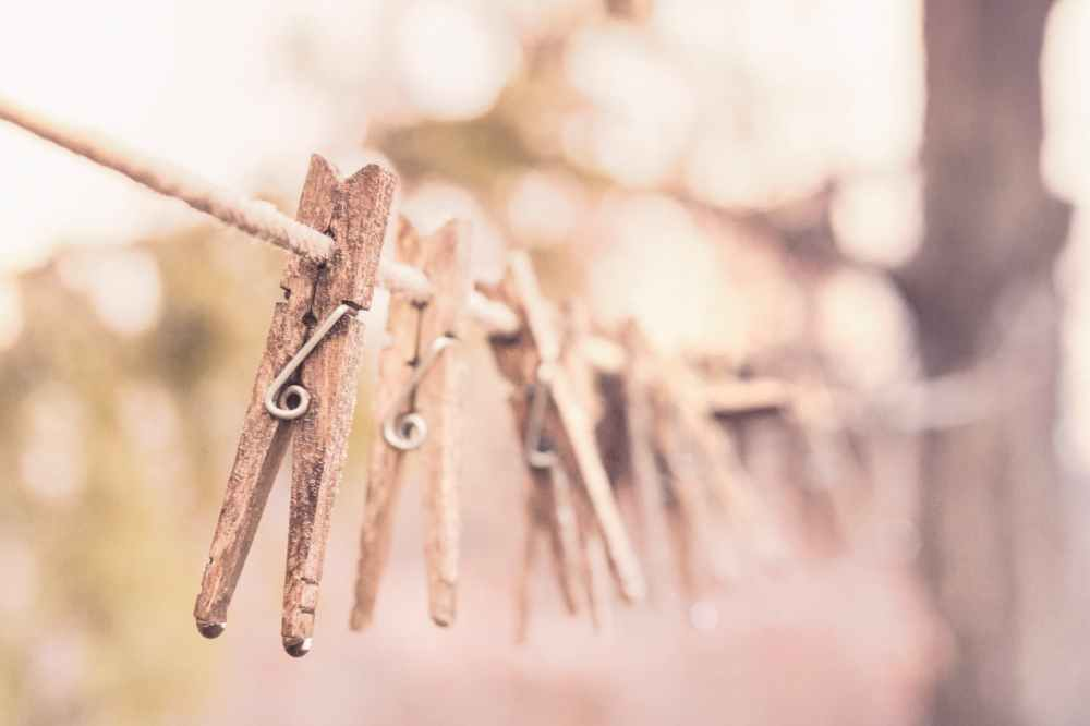 wooden laundry washing clothes line