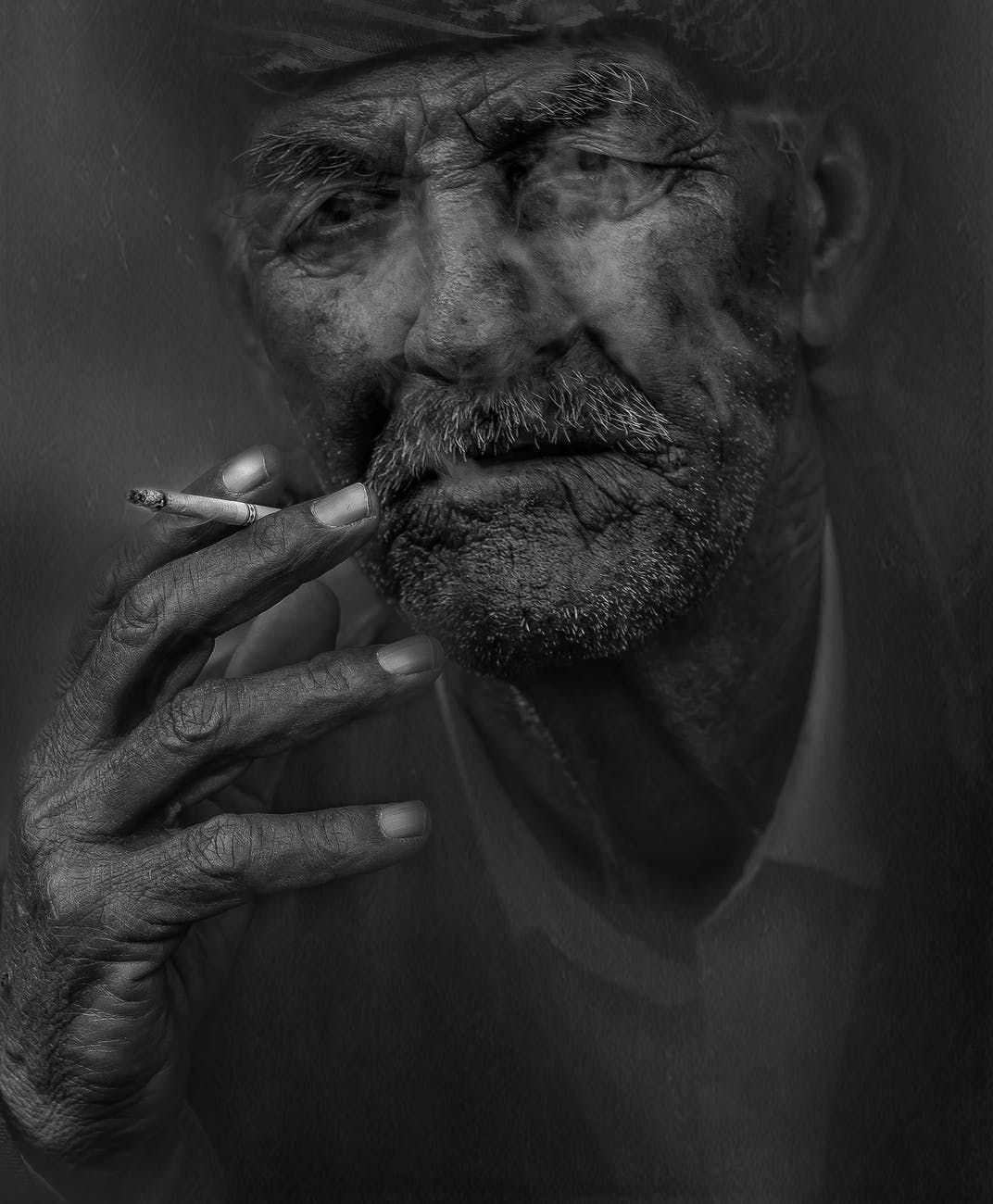 black and white portrait person smoker