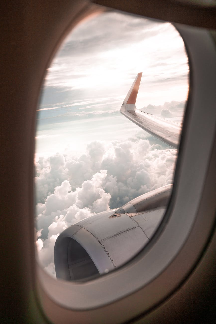 selective focus photo of airplane window