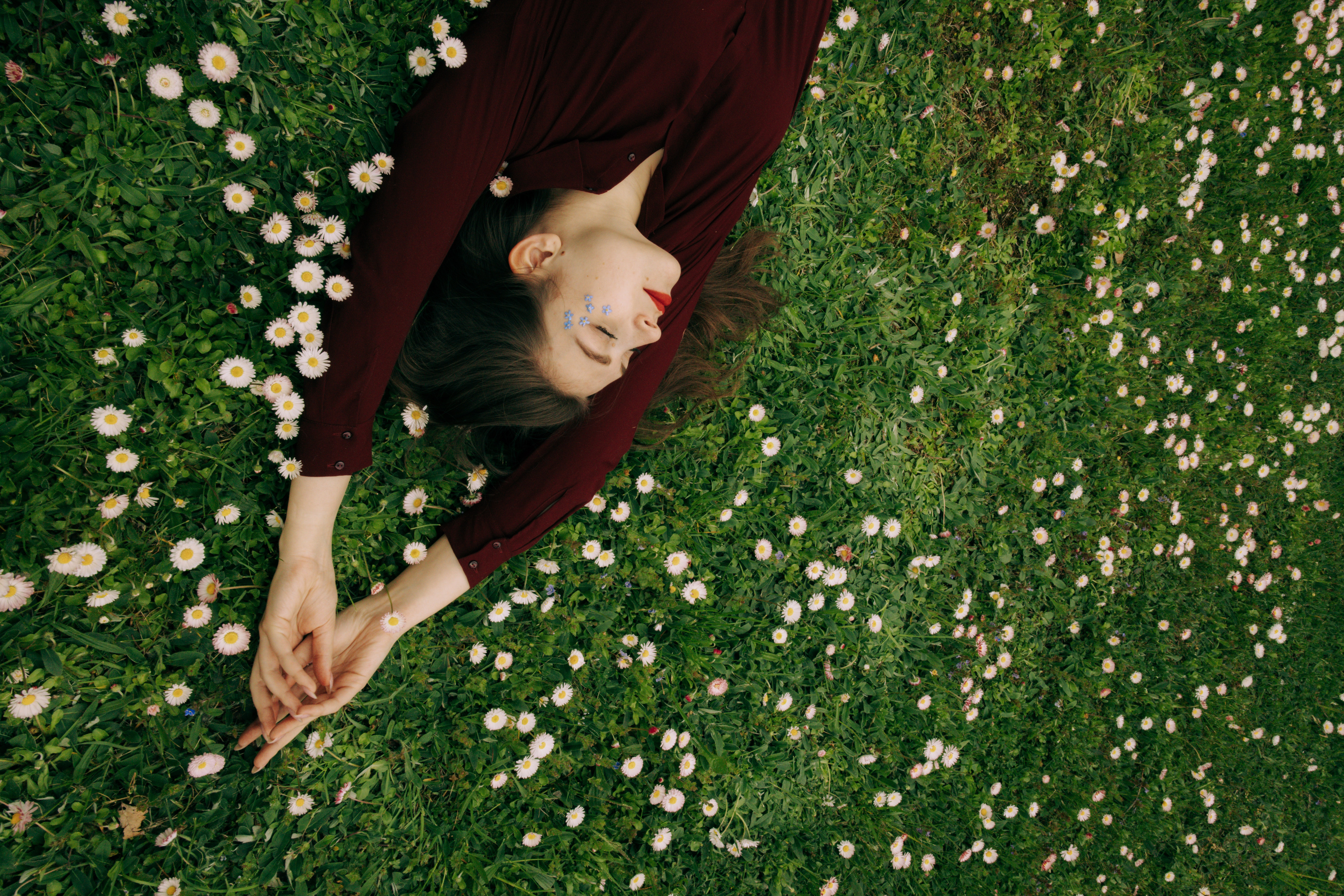 woman-in-maroon-long-sleeve-shirt-lying-on-white-flower-4663043